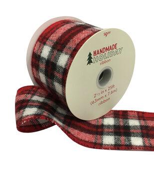 Handmade Holiday Christmas Flannel Ribbon 2.5''x25'-Red & Black Plaid