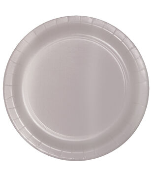 8ct Large Paper Plate-Pearlized Grey