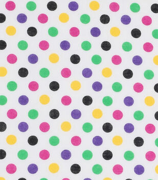 Mardi Gras Cotton Fabric-Multi Dots White