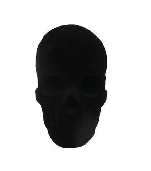 Maker's Halloween Velvet Skull Tabletop Decor-Black