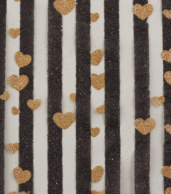 """Tulle Fabric 56""""-Black Stripe with Gold Glitter Hearts"""