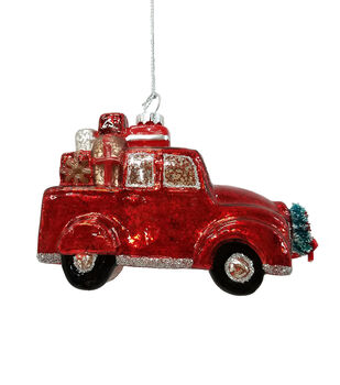 Handmade Holiday Christmas Glass Truck Ornament with Presents