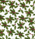 Christmas Cotton Fabric-Holly On White