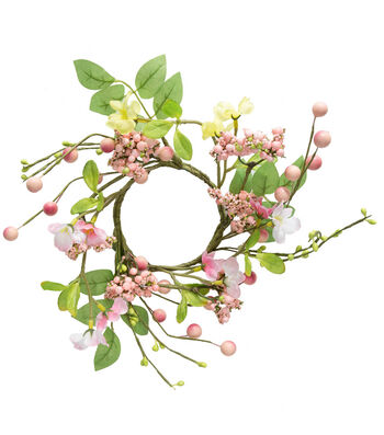 Fresh Picked Spring Blossom & Berry Mini Wreath-Pink