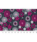Quilter\u0027s Showcase Fabric -Raspberry & Navy Floral Medallion