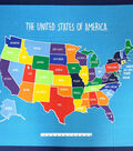 Novelty Cotton Fabric 44\u0022-United States Map