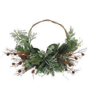 Handmade Holiday Christmas Stag & Eucalyptus Minimalist Wreath