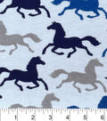 Snuggle Flannel Fabric -Running Horses Blue Gray