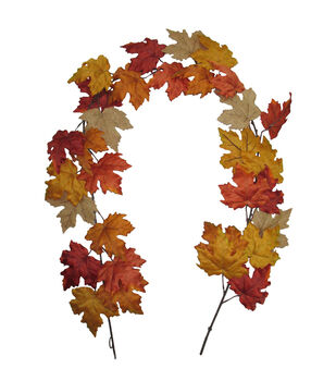 Blooming Autumn 66'' Maple Leaf Garland-Rust
