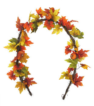 Blooming Autumn 66'' Pumpkin & Maple Leaf Garland-Multi