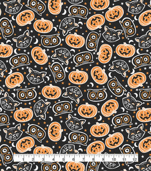 Halloween Cotton Fabric-Tossed Cat Heads Black