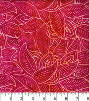 Legacy Studio Indonesian Batiks Cotton Fabric -Packed Leaves Pink, , hi-res