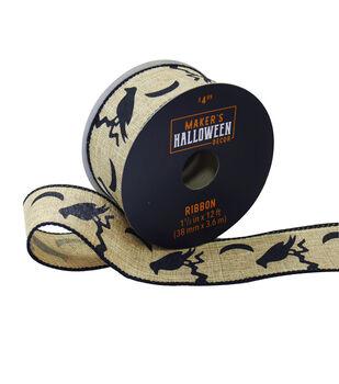 Maker's Halloween Decor Ribbon 1.5''x12'-Black Crows on Natural