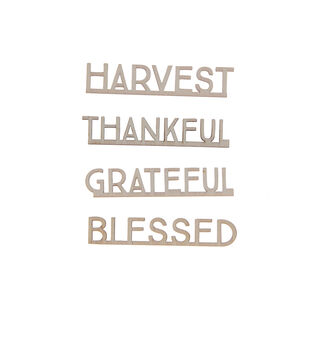 Simply Autumn Craft 4 pk Small Wooden Thanksgiving Words
