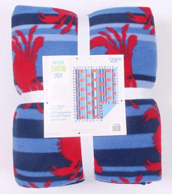 "No-Sew Throw Fleece Fabric 72""-Blue Striped Crabs"