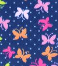 Blizzard Fleece Prints-Bright Butterflies On Navy