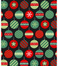 Holiday Showcase Christmas Cotton Fabric 43\u0027\u0027-Packed Ornaments on Black