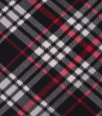 Blizzard Fleece Fabric-Kate Black & Red Plaid