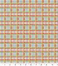 Premium Cotton Fabric-Orange Floral Plaid