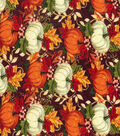 Harvest Cotton Fabric 43\u0022-Floral Pumpkin Patch