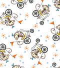 Snuggle Flannel Print Fabric 42\u0022-Monkeys On Bikes
