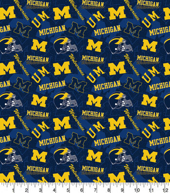 University of Michigan Wolverines Cotton Fabric-Tone on Tone