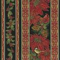 Christmas Cotton Fabric-Poinsettia Stripe Black Metallic