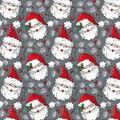 Christmas Cotton Fabric-Vintage Santa Grey Glitter