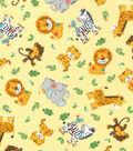 Nursery Flannel Fabric -Zoo Animal Toss