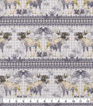 Snuggle Flannel Fabric-Ivory Checks, Moose & Stripes