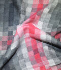 Sportswear Acrylic Fabric-Black & Red Pixel Squares