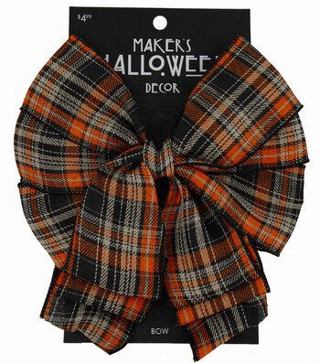 Maker's Halloween 2.5'' Decorative Bow-Orange & Black Plaid