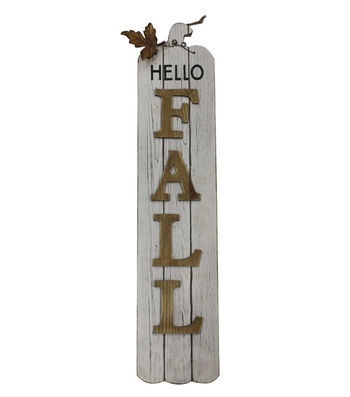 Simply Autumn Vertical Wall Decor-Hello Fall on White