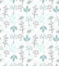 Nursery Flannel Fabric-Woods Mint Leaves