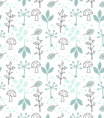 Nursery Flannel Fabric-Woods Mint Leaves