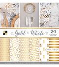 DCWV 24 Pack 12\u0022x12\u0022 Premium Printed Cardstock Stack-Gold & White