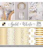 "DCWV 24 Pack 12""x12"" Premium Printed Cardstock Stack-Gold & White, , hi-res"
