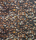 Novelty Cotton Photo Real Fabric 44\u0022-Coffee Beans