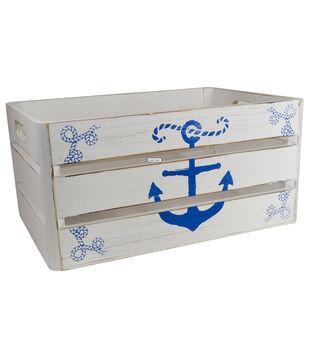 Organizing Essentials Medium Wood Crate-Anchor