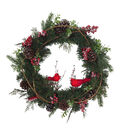 Blooming Holiday Christmas Double Cardinal, Pine & Berry Wreath