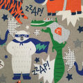 Doodles Juvenile Apparel Fabric 57\u0027\u0027-Superhero Animals Interlock on Gray
