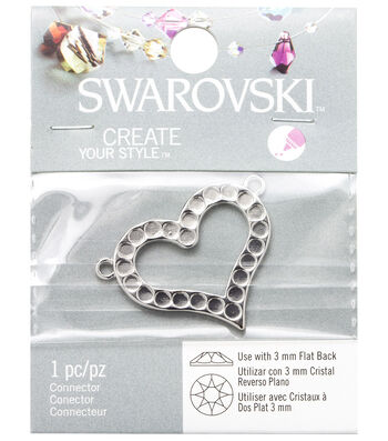 Swarovski Heart Flat Back Base-Silver