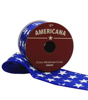 "Americana Ribbon 2.5""x12'-White Stars on Blue"