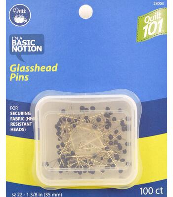 Dritz Quilt 101 Glasshead Pins 100pcs