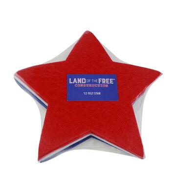 "Land of the Free 8"" Felt Stars-Red, White & Blue"