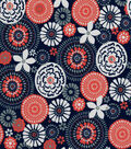 Quilter\u0027s Showcase Fabric -Fusion Floral & Medallion on Navy