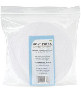 Heat Press Batting Together Fuse Batting Tape 1.5''x100 yds-White