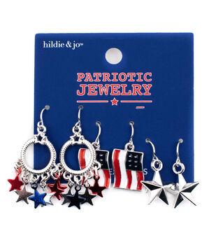hildie & jo Patriotic Jewelry Star & Flag Earrings