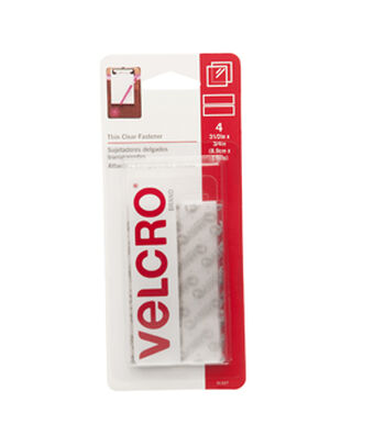 VELCRO Brand  Thin Clear Fasteners 3 1/2in x 3/4in strips. 4 ct.