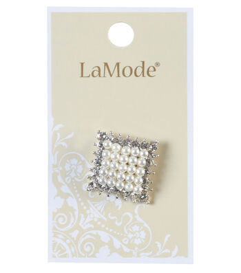 LaMode Pearl And Rhinestone Square Button